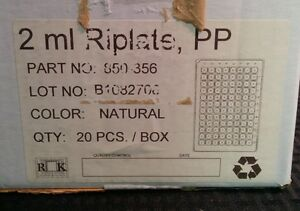 Rk Riplate 2ml 96 Well Plate Polypropylene Non sterile 20 box 850356 Open Box