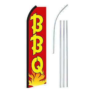 Bbq Red yel Advertising Sign Swooper Feather Banner Flag Pole Only