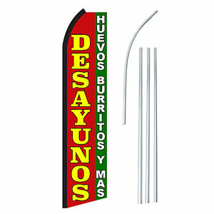 Desayunos Advertising Sign Swooper Feather Banner Flag Pole Only