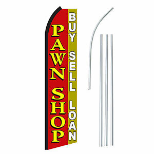 Pawn Shop Advertising Sign Swooper Feather Banner Flag Pole Only