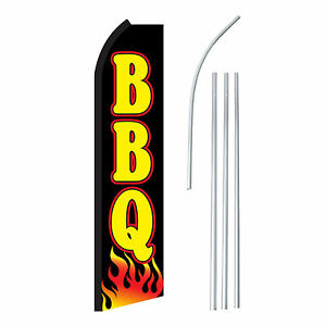 Bbq Black yel Advertising Sign Swooper Feather Banner Flag Pole Only