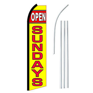 Open Sundays Advertising Sign Swooper Feather Banner Flag Pole Only