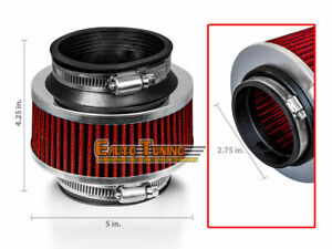 2 75 70mm Cold Air Intake Universal Bypass Valve Filter Red Nis