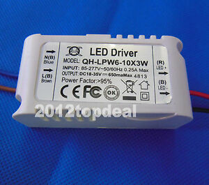 Constant Current Driver For 6 10pcs 3w High Power Led In Series 6 10x3w 650ma