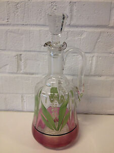 Antique Victorian Glass Decanter W Floral Decoration