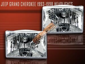 1993 1998 Jeep Grand Cherokee Euro Crystal Headlights 96 97