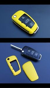 Audi Remote Flip Key Cover Case Skin Shell Cap Fob Protection Hull S Line Yellow