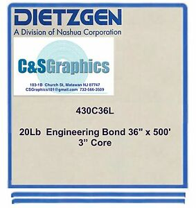 2 Rolls 36 X 500 20lb Bond Paper Wide Format Engineering Copier 3 Core