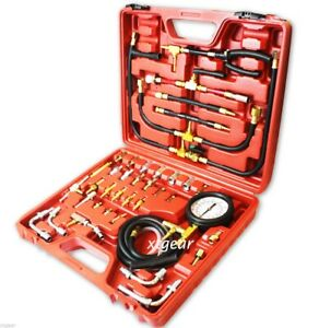 New 0 120 Psi Complete Deluxe Fuel Injection Pressure Tester Gauge Kit System