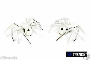 2pc Chrome 3d Spider Emblem Badge Decal Symbol Car Truck Suv Adhesive Stick Usa