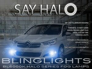 2013 2014 2015 Citroen C4 L Halo Fog Lamps Angel Eye Driving Light Kit Harness