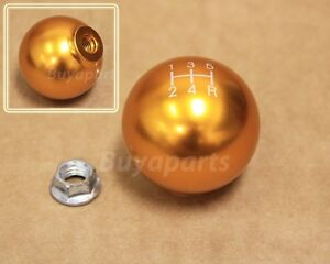 Gold Aluminum 5 Speed Gear Shift Knob 10x1 5 For Manual Transmission M T Stick