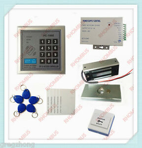Access Control System W 60kg Electronic Lock power Supply exit Button 10 Em Card
