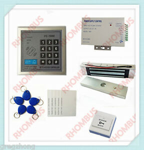 Access Control System W 180kg Electronic Lock power Supply exit Button 10rf Card