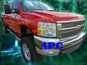 07 10 2010 2008 09 Chevy Silverado 2500 2500hd 3500 3500hd Black Billet Grille