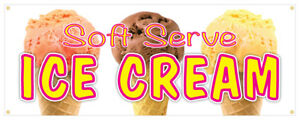 Soft Serve Ice Cream 02 Banner Refreshing Flavors Concession Stand Sign 24x72