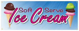 Soft Serve Ice Cream 01 Banner Refreshing Flavors Concession Stand Sign 24x72