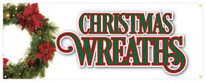 Christmas Wreaths Banner Holiday Lights Ornaments Retail Store Sign 24x72