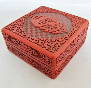 Antique Chinese Cinnabar Red Lacquer Box With Flowers Baby Dragon 4 Long