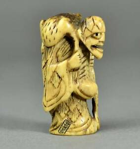 Beautiful Toad Immortal Or Gama Sennin Old Netsuke Sagemono Stag Antler 2