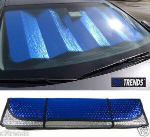 Reversible Chrome Blue Front Window Windshield Sun Shade Accordion Car Std Sz