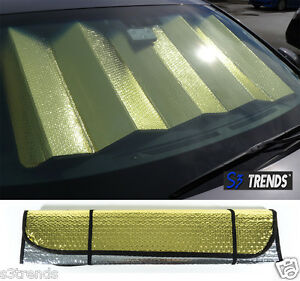 Reversible Chrome Gold Front Window Windshield Sun Shade Accordion Car 50 x23