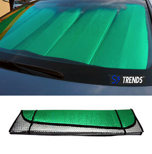 Reversible Chrome Green Front Window Windshield Sun Shade Accordion Car 54 x27