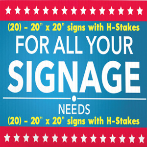25 Custom Printed Signs Full Color 2 side 24 X 18 Indoor Outdoor Business