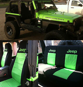 13 17 Jeep Wrangler Jk Front 60 40 Rear Seat Covers Black Lime Green Design