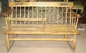 Antique Country Primitive American Mammy Nanny Rocking Settee Bench