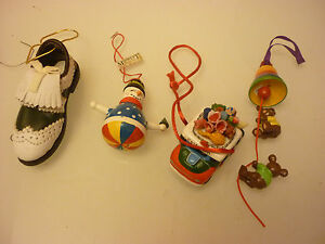 Vintage Lot Of 4 Small Christmas Tree Ornaments Shoe Snowman Bear Bell