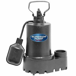 Superior Pump 92331 1 3 Hp Cast Iron Submersible Sump Pump W Tether Float