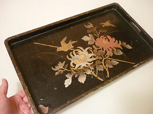 Antique Vintage Serving Tray Wood Hand Painted Lacquered Poor Condition