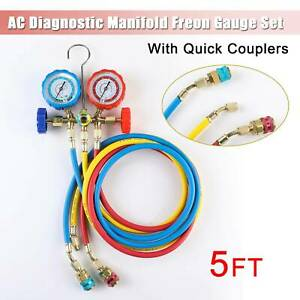 New Manifold Gauge Set 4 way R410a Quick Coupler 60 Hose Ac Refrigeration
