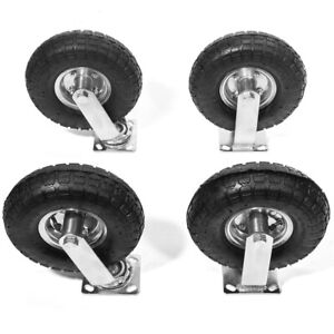 4pcs 10 Pneumatic Air Tire Wheel 2 Rigid 2 Swivel Hd Farm Cart Caster Large