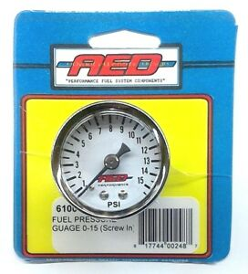 Aed 6100 Analog Fuel Pressure Gauge 1 5 White Face 1 8 Npt Screw In 0 15 Psi
