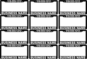 Lot Of 12 Custom Business Name Phone Number Advertise License Plate Frames