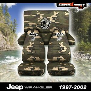 1997 2002 Jeep Wrangler Seat Covers W Bear Claw Design Choose Your Camouflage