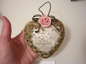 Vintage Unique Christmas Tree Ornament Hand Decorated Heart Glass Lace Silk