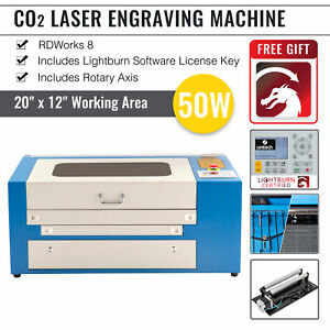 50w 110v Co2 Laser Engraving Cutting Machine Engraver Cutter 300 500mm W rotary