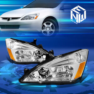 For 03 07 Honda Accord Factory Style Chrome amber Corner Headlights Replacement