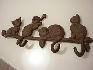 Vintage Wall Plaque Key Rack Cats Tails Are Hooks Cast Iron Damaged