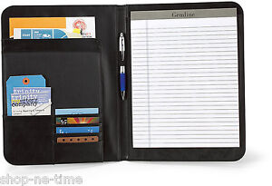 Gemline Cityscape Executive Black Leather Writing Pad Folio Tablet Folio new