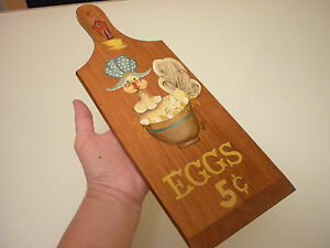 Vintage Wall Plaque Chicken Eggs Solid Wood Hand Painted Cutting Board Farm
