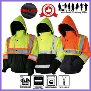 Hi vis Insulated Safety Bomber Reflective Jacket Coat Road Work High Visibility
