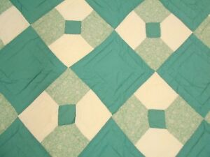 Vintage Antique Teal Hand Stitched Quilted Bow Tie Neck Tie Queen Quilt 94x80