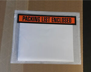 50 7x5 1 2 Packing List Enclosed Long Envelopes Large Pouches Box Slips