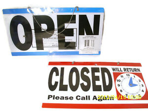 Open Closed Hanging Door Sign With Will Return Clock With Movable Hands