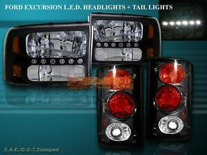 2000 2004 Ford Excursion Black Led Headlights Tail Lights Combo