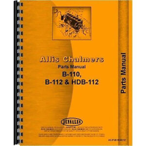 Parts Manual For Allis Chalmers B 110 Lawn Garden Tractor